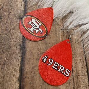 SF 49ers earrings football team logo NEW